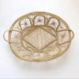 Woven Wicker Light Colored Straw Basket Boho